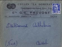 """62 - PAS DE CALAIS - CALAIS PRINCIPAL - 1951 -  ENTETE """"CYCLE LA DOMINANTE/ETS PRUVOST"""" - Marcophilie (Lettres)"""