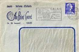 """62 - PAS DE CALAIS - CALAIS PRINCIPAL - 1951 -  ENTETE """"AU BEBE CHOYE/JOUETS.VOITURE D ENFANTS"""" - Postmark Collection (Covers)"""