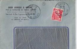 """62 - PAS DE CALAIS - LIEVIN - 1950 -  TàD De Type A6 + ENTETE """"UNION CHIMIQUE ET MINIERE ..."""" - Manual Postmarks"""