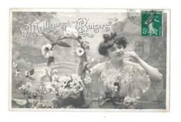Meilleurs Baisers - Femme En Robe Blanche - Panier De Fleurs - 5940 - Femmes
