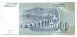 YUGOSLAVIA P. 115 5000 D 1992 UNC - Yugoslavia