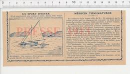 2 Scans De 1913 Voiture à Voile Plage Char Aéroplage Médecin Thaumaturge Garçon Boucher Ducray Rouen Cage Au Lion  223XF - Vieux Papiers