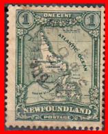 CANADA ISLA DE TERRANOVA   SELLO AÑO 1928   —  1 CENTS MAP OF NEW OUNDLAND - 1911-1935 Reinado De George V