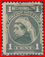 CANADA ISLA DE TERRANOVA  SELLO AÑO 1897-1901   —  1 CENTS QUEEN VICTORIA - Usados