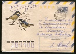 Russia USSR 1974 Air Mail Stationery Cover Fauna, Birds, Black Tit - Moineaux