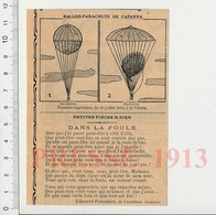 Presse 1913 Ballon-parachute De Caparra 11 Juillet 1892 La Vilette / + Petite Pièce De Edouard Pailleron  223XF - Non Classés
