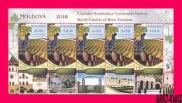 MOLDOVA 2018 Nature Flora Fruits Grape Vineyard Viniculture World Capital Of Wine Tourism M-s Mi Klb.1061 Sc997 MNH - Wines & Alcohols