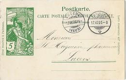 162 - 73 - Entier Postal UPU Avec Cachets à Date Zofingen Et Lucens 1900 - Entiers Postaux