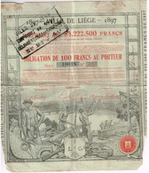 Obligation Ancienne - Ville De Liège Emprunt 1897 - Titre De 1898 - Actions & Titres