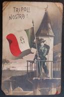 HC - ITALY ITALIA Libia Colonia Italiana TRIPOLI NOSTRA - BERSAGLIERI W/FLAG - PUBLICITARIA MILITAR POSTCARD - Ed. F.T.D - Guerre 1914-18