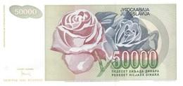 YUGOSLAVIA P. 117 50.000 D 1992 UNC - Yugoslavia