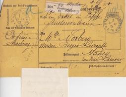 Bulletin D'expédition De Paquet Obl. Strasbourg (T113A Strassburg I Els 1 *d)  Le 21/11/77 Pour Nancy (10+25c Dimension) - Elsass-Lothringen