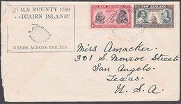WW2 Pitcairn Island NZ Postal Agency Cover Texas - Stamps