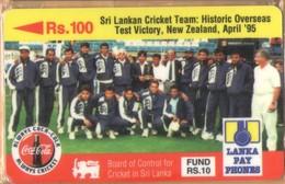Sri Lanka (Ceylon) - SRL-14A, GPT, 14SRLA, Sri Lanka Cricket Team, Cola, Sports, Rs.100, Mint / Unused NSB - Sri Lanka (Ceylon)