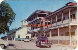 Postcard Car Automovil Calle De Estacion Ferroviaria Hotel Paris Ceiba Honduras 1960 Tegucigalpa Postmark - Honduras