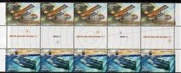 AUSTRALIA, 2014 AVIATION/SUBMARINES GUTTER STRIP 10 MNH - 2010-... Elizabeth II