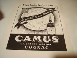 ANCIENNE PUBLICITE COGNAC CAMUS GRANDE MARQUE 1949 - Alcools