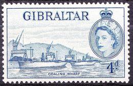 GIBRALTAR 1959 QEII 4d Blue SG156a MH - Gibraltar