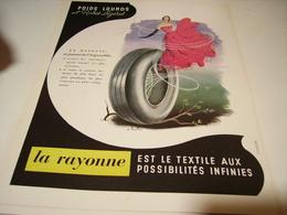 ANCIENNE PUBLICITE POID LOURD ET  ROBES LEGERE AVEC LA RAYONNNE 1949 - Transport