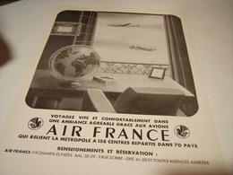 ANCIENNE PUBLICITE VOYAGEZ VITE  AIR FRANCE  1949 - Publicités