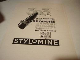 ANCIENNE PUBLICITE  LA PLUME CAPOTEE STYLOMINE 1949 - Autres Collections