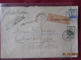 Lettre Recommandée De Belgique Pour La Grande-Bretagne (Ministère Des Affaires Etrangères) - 1915-1920 Albert I