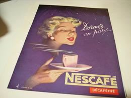 ANCIENNE PUBLICITE CAFE NESCAFE DECAFEINE 1949 - Affiches