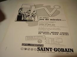 ANCIENNE PUBLICITE JEU DE MIROIRS  SAINT GOBAIN 1955 - Pubblicitari