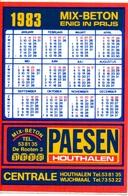 Kalender Calendrier - 1983 - Pub Reclame Mix Beton Paesen - Houthalen - Calendriers