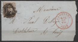 LSC Affr. N°6 P3 Càd ANDENNE/27 MAI 1857 Pour Distilateur à HUY - 1851-1857 Medallions (6/8)