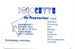 Kalender Calendrier - 1997 - Pub Reclame - Decoratie De Ruysscher - Sluis - Calendriers