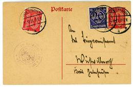 """DP 1 + Zusatzfrankatur Aus """"Wächtersbach"""" 1921 - Germany"""