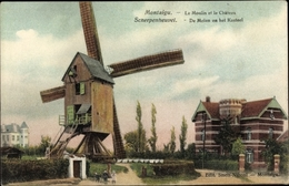 Cp Scherpenheuvel Zichem Flämisch Brabant, Windmühle Und Schloss - Belgium