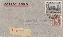 Peru 1938: Air Mail Registered Power Company Iquitos To Lima - Peru