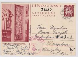 GG: Ganzsache Von Litauen/Lietuva Nach Warschau- Zensur - Occupation 1938-45