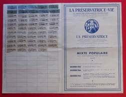 1946-1968 Timbres Quittance Sur Document Assurance La Préservatrice-Vie Avec Participation Aux Bénéfices - Autres