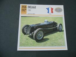 CARTOLINA CARD SCHEDA TECNICA  AUTO  CARS   DELAGE 1500 - Autres Collections