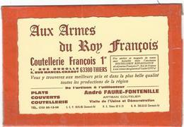 Puy De Dome : Thiers, Aux Armes Du Roy François, Carte Publicitaire... - Thiers