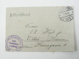 1916 , Pass Nebenstelle LOOCHRISTY , Lettre Militaire Allemagne - Marcophilie (Lettres)
