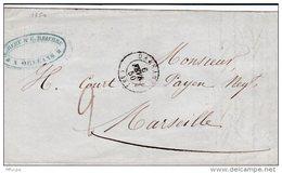 L4A018 France Lettre Orléans Pour Marseille 06 02 1850 - Marcophilie (Lettres)