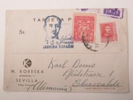 1938, Guerre , SEVILLA , Tarjeta Postale, Censurado A Alemania - 1931-Hoy: 2ª República - ... Juan Carlos I