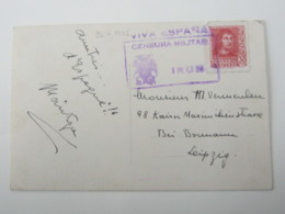Guerre , IRUN , Tarjeta Postale, Censurado A Alemania - 1931-Hoy: 2ª República - ... Juan Carlos I