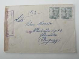 1943 , Carta, Censurado A Uruguay - 1931-Hoy: 2ª República - ... Juan Carlos I