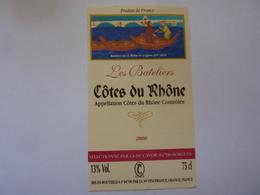 """Etichetta """"Les Bateliers  COTES DU RHONE 2000"""" - Côtes Du Rhône"""