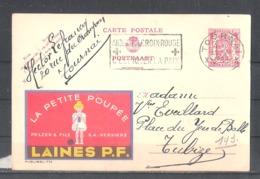 """EP Belgique Publibel 779 """"la Petite Poupée - Laines P.F."""" Ets Pelzer & Fils Verviers - Tournai 1948 - Aider Croix-rouge - Entiers Postaux"""
