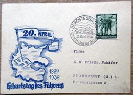 DR Hitler Geburtstagskarte Mit Illustration, 6 Pfg. Marke Mit SST Berchtesgaden - Deutschland