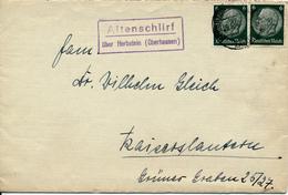 ALTENSCHLIRF überb Herbstein - 193? , Posnebenstempel , Landpoststempel - Germany
