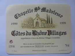 "Etichetta ""CHAPELLE SAINTE -  MADELEINE  Cotes Du Rhone Villages 1999"" - Côtes Du Rhône"