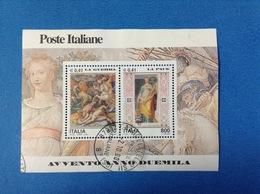 2000 ITALIA FOGLIETTO USATO SOUVENIR SHEET USED - AVVENTO DUEMILA LA GUERRA E LA PACE - - 6. 1946-.. Repubblica