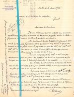 Brief Lettre - Notaris Roland Melle - Naar Kadaster 1925 - 2 Stuks - Vieux Papiers